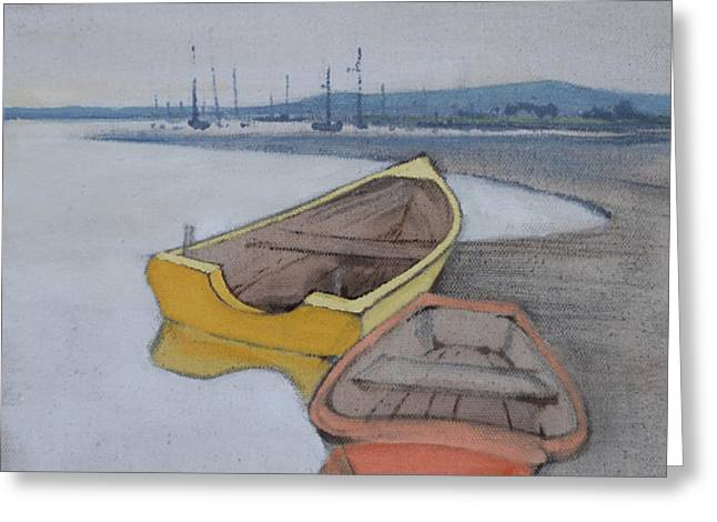 Yellow Boat 1 Greeting Card by Amy Bernays