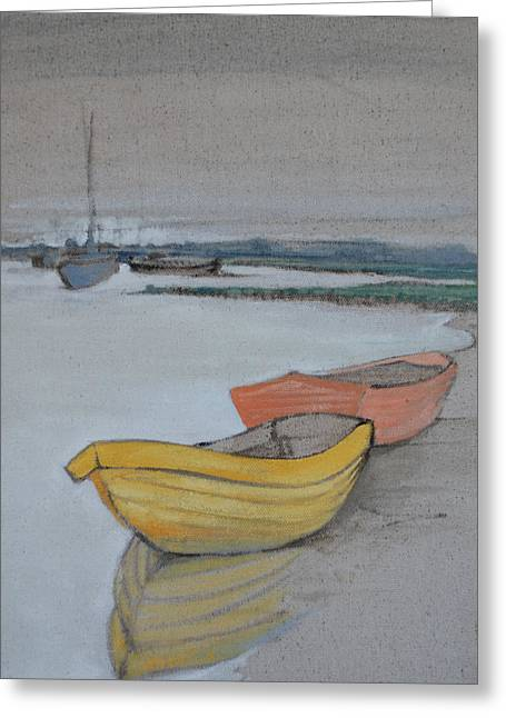 Yellow Boat 2 Greeting Card by Amy Bernays