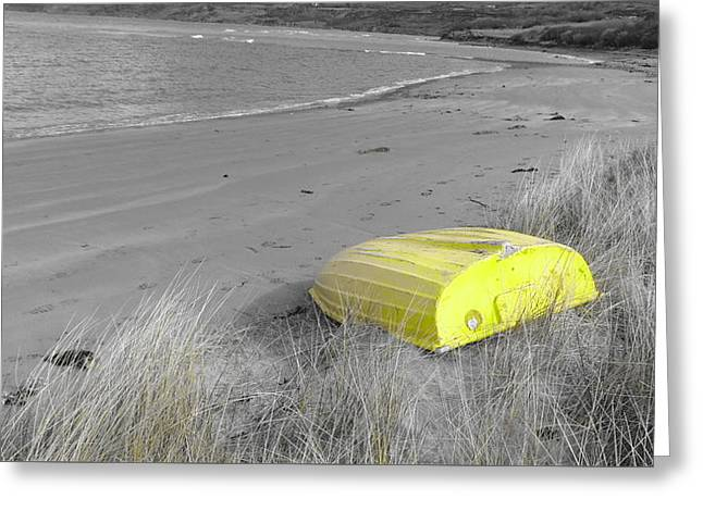 Sanddunes Greeting Cards - Yellow Boat On The Shoreline Greeting Card by Jon Rushton