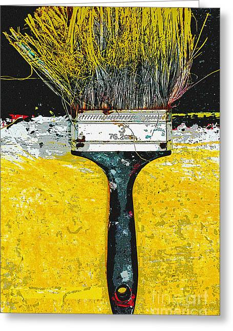 Graffiti Art For The Home Greeting Cards - Yellow Brush Art Print Greeting Card by Anahi DeCanio