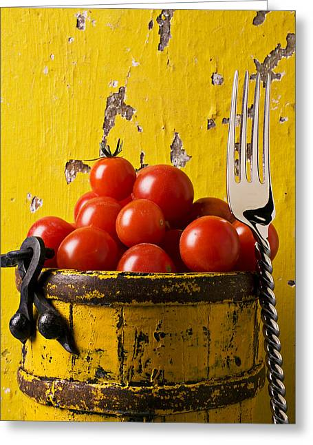 Fresh Produce Greeting Cards - Yellow bucket with tomatoes Greeting Card by Garry Gay