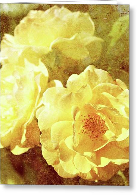 Floral Digital Art Digital Art Greeting Cards - Yellow Bunch Vintage Greeting Card by Cathie Tyler