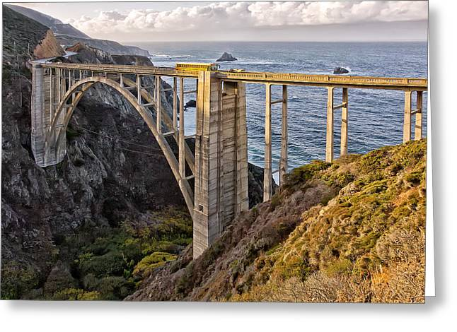 Bixby Bridge Greeting Cards - Yellow Bus Greeting Card by Luc Mena