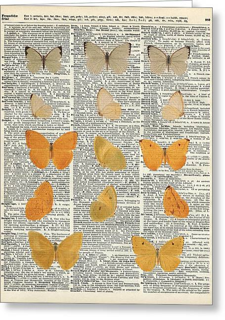 Upcycle Greeting Cards - Yellow butterflies over dictionary book page Greeting Card by Jacob Kuch