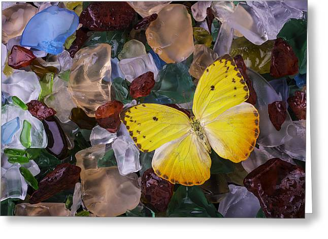 Yellow Butterfly On Sea Glass Greeting Card by Garry Gay
