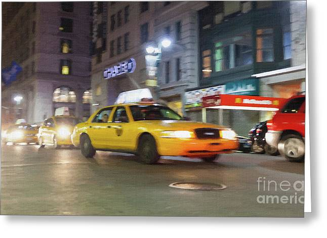 Yellow Cab At Night In New York City In Motion Blu. Greeting Card by Antonio Gravante