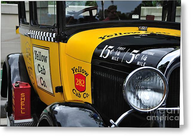 Kaye Menner Shells Greeting Cards - Yellow Cab Co. - Vintage Ford Side View Greeting Card by Kaye Menner