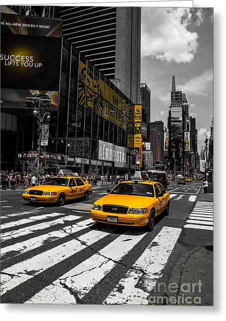 Advertisment Greeting Cards - Yellow Cabs cruisin on the Times Square  Greeting Card by Hannes Cmarits