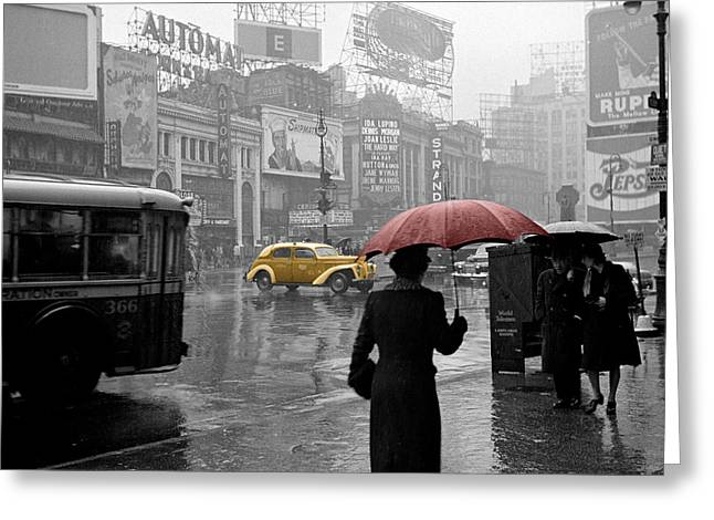 New York City Rain Greeting Cards - Yellow Cabs New York 2 Greeting Card by Andrew Fare