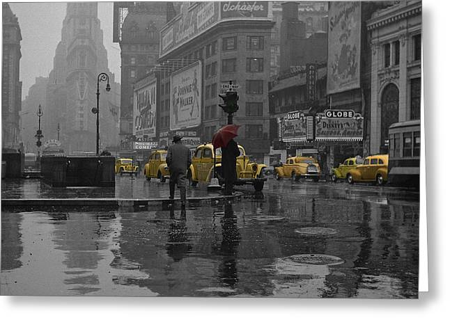 New York City Rain Greeting Cards - Yellow Cabs New York Greeting Card by Andrew Fare