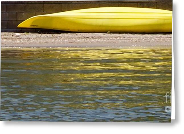 Canoe Photographs Greeting Cards - Yellow Canoe Greeting Card by Terri Thompson