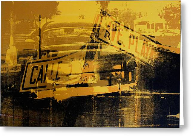 Old Street Greeting Cards - Yellow Car and Street Sign Greeting Card by David Studwell