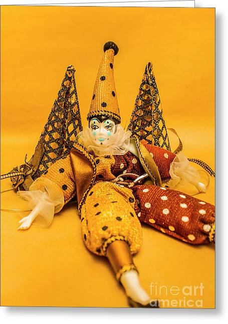 Yellow Carnival Clown Doll Greeting Card by Jorgo Photography - Wall Art Gallery