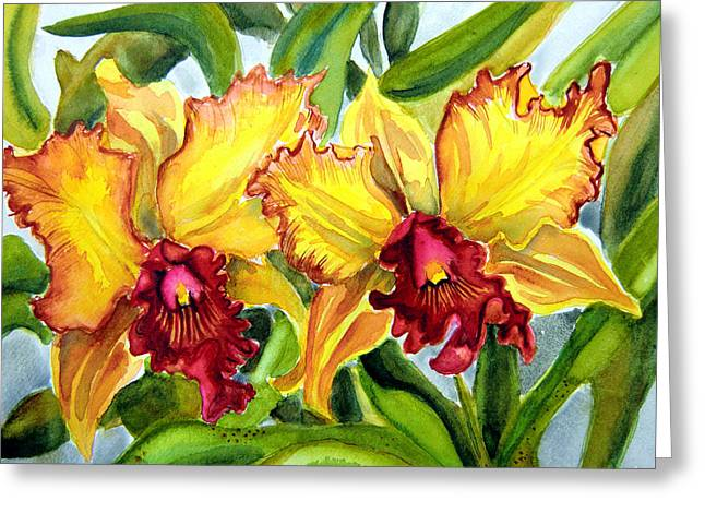 Golden Pink Orchid Greeting Cards - Yellow Cattelya Greeting Card by Helen Kern