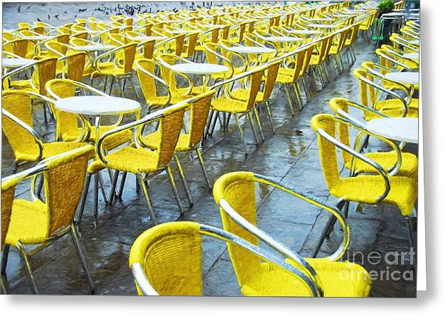 Yellow Chairs In Venice Greeting Card by Mel Steinhauer
