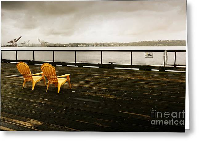 Scenic Greeting Cards - Yellow Chairs on Pier 62 Greeting Card by Jon Olmstead
