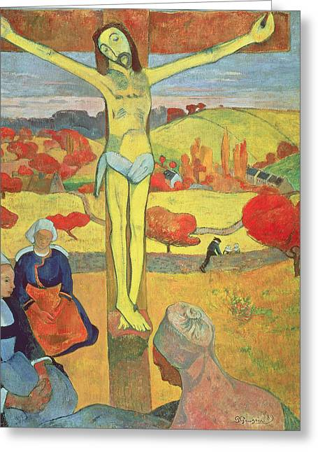 Yellow Christ Greeting Card by Paul Gauguin