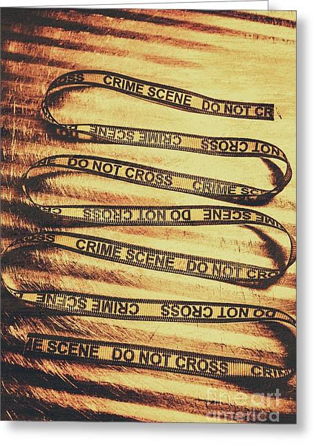 Yellow Crime Scene Ribbon On Metal Background Greeting Card by Jorgo Photography - Wall Art Gallery