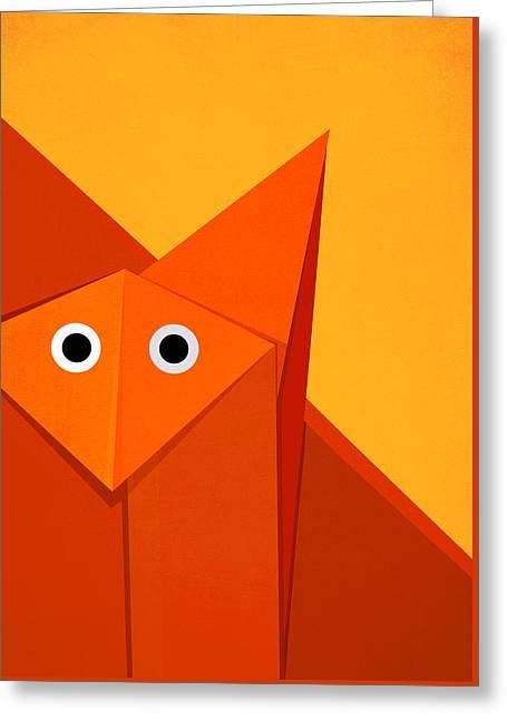 Yellow Cute Origami Fox Greeting Card by Boriana Giormova