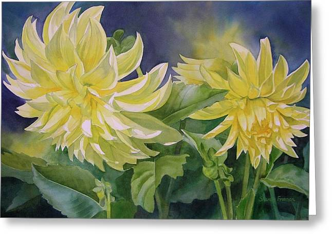 Realistic Watercolor Greeting Cards - Yellow Dahlia Duet Greeting Card by Sharon Freeman