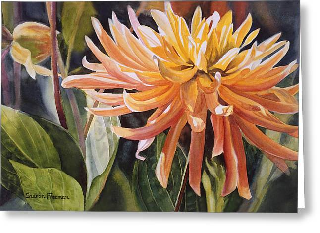 Garden Art Paintings Greeting Cards - Yellow Dahlia Greeting Card by Sharon Freeman