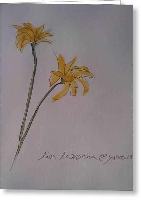 Yellows Ceramics Greeting Cards - Yellow Daisies Greeting Card by Lisa LaMonica