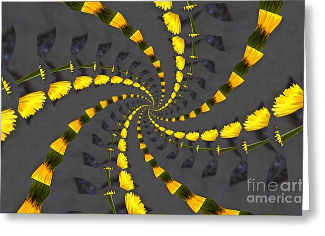Floral Digital Art Digital Art Greeting Cards - Yellow Daisy Spin Wheel  Greeting Card by Debra Martz