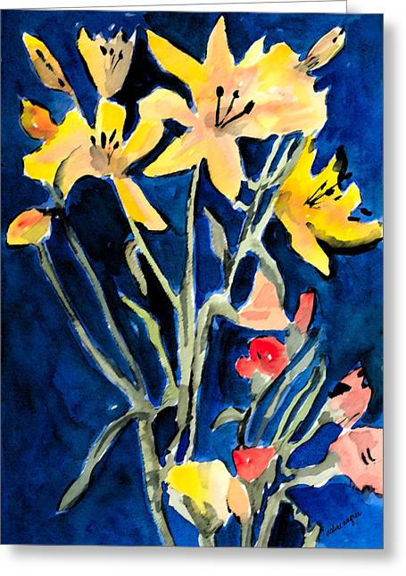Day Lilly Paintings Greeting Cards - Yellow Daylilies Greeting Card by Arline Wagner
