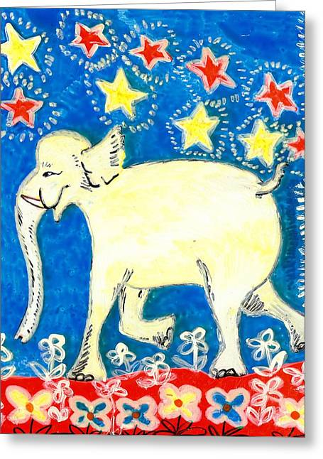 Sue Burgess Ceramics Greeting Cards - Yellow elephant facing left Greeting Card by Sushila Burgess