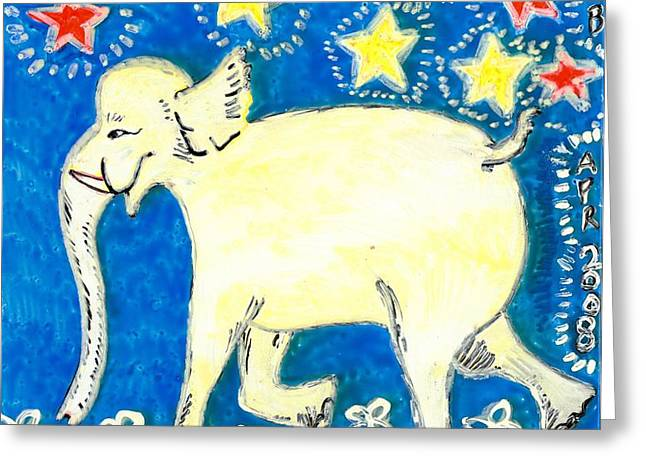 Yellow elephant facing left Greeting Card by Sushila Burgess