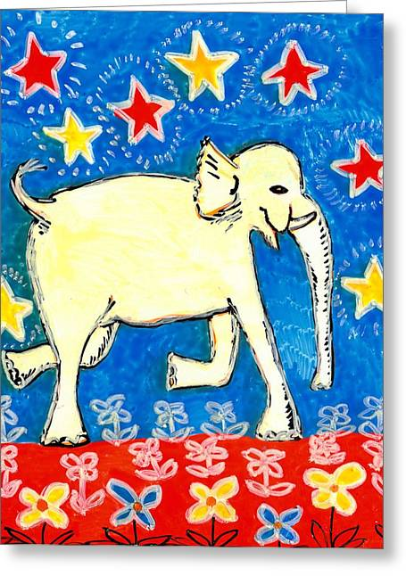 Sue Burgess Ceramics Greeting Cards - Yellow elephant facing right Greeting Card by Sushila Burgess