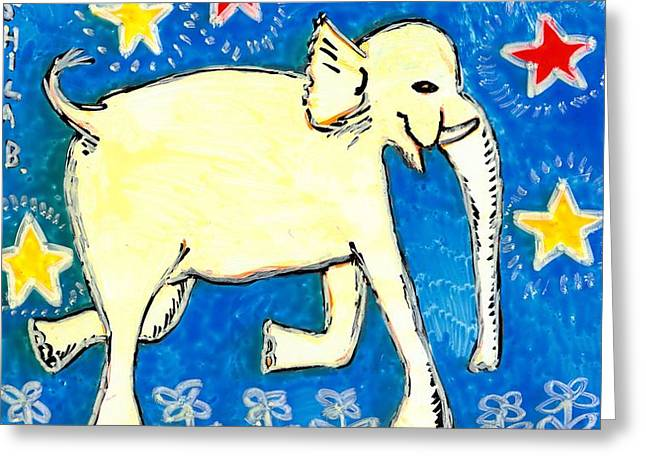 Yellow elephant facing right Greeting Card by Sushila Burgess