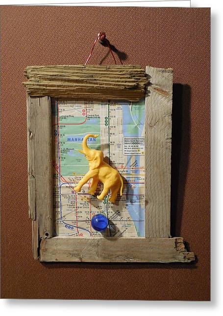 Hovering Mixed Media Greeting Cards - Yellow Elephant Hovering Over Blue Marble Greeting Card by Jim Ramirez