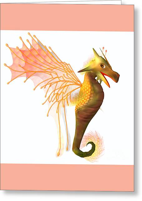Faerie Tale Greeting Cards - Yellow Faerie Dragon Greeting Card by Corey Ford