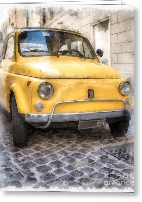 Vintage Models Greeting Cards - Yellow Fiat 500 Watercolor Greeting Card by Edward Fielding