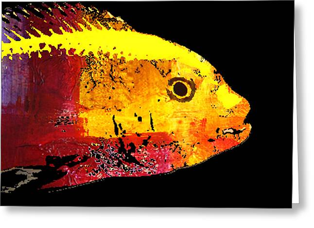 Yellow Fish Abstract Greeting Card by Nancy Merkle