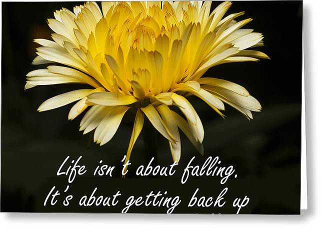 Clever Greeting Cards - Yellow Flower with Inspirational Text Greeting Card by Donald  Erickson