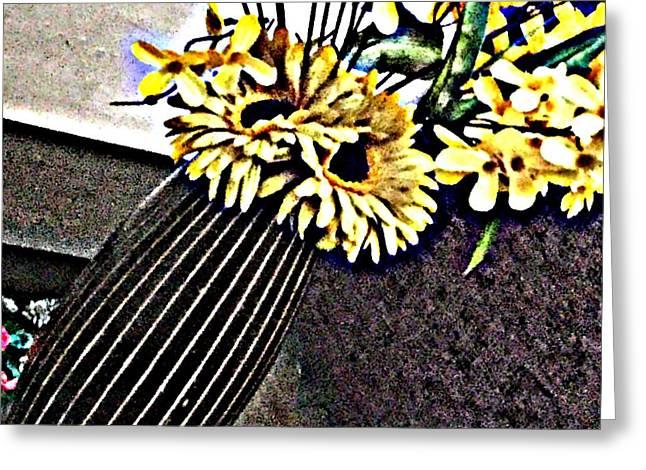 Yellow Flower Art  Greeting Card by Jagjeet Kaur