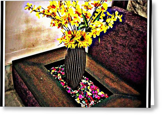 Yellow Flowers Greeting Card by Jagjeet Kaur
