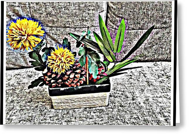 Yellow Floral Fantasy Greeting Card by Jagjeet Kaur