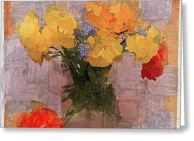 Interior Still Life Digital Art Greeting Cards - Yellow Flowers Greeting Card by Yury Malkov