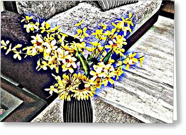 Yellow Flowers Art 3  Greeting Card by Jagjeet Kaur