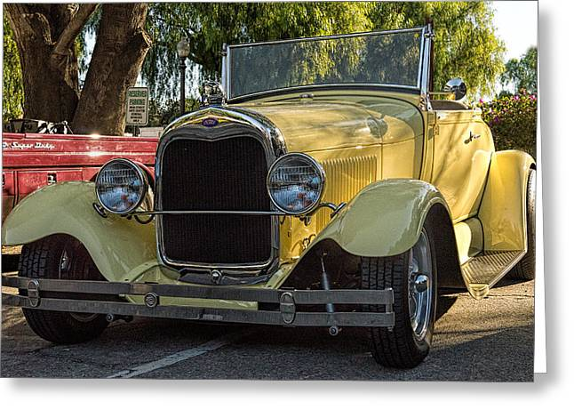 Classic Ford Roadster Greeting Cards - Yellow Ford Roadster Greeting Card by Steve Benefiel