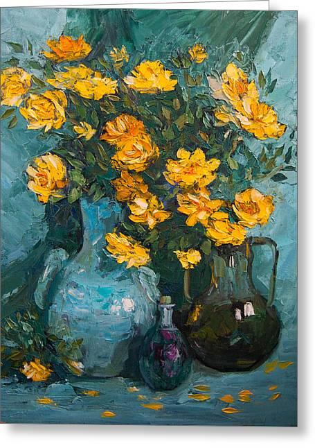 Interior Still Life Greeting Cards - Yellow garden roses Greeting Card by Olesya Tarasova