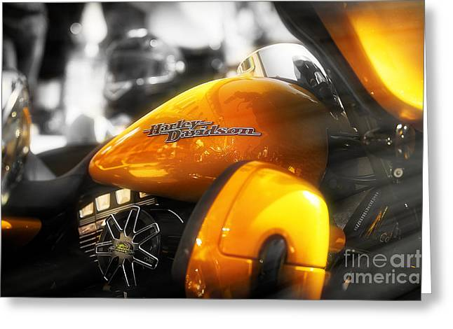 Screaming Mixed Media Greeting Cards - Yellow Harley Greeting Card by Stefano Senise