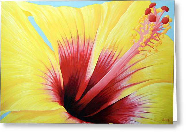 Hawaiin Greeting Cards - Yellow Hibiscus Greeting Card by Adam Johnson
