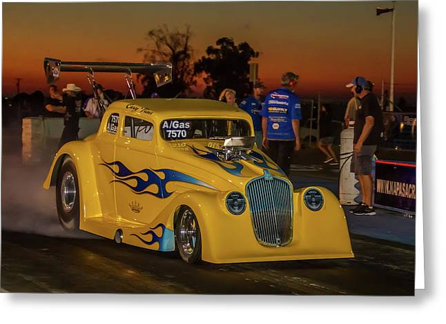 Yellow Hot Rod Greeting Card by Bill Gallagher