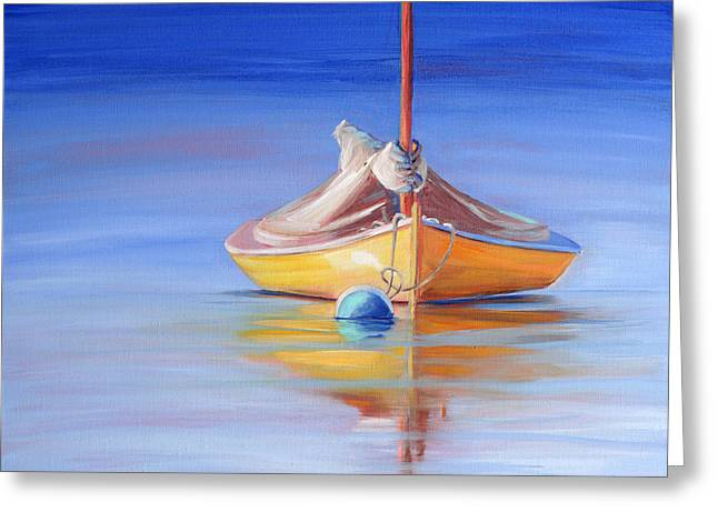 Recently Sold -  - Yellow Sailboats Greeting Cards - Yellow Hull Sailboat IV Greeting Card by Trina Teele