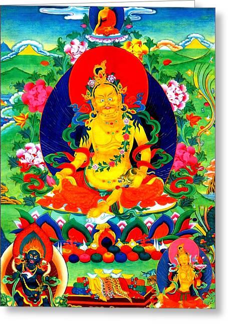 Hindu Goddess Greeting Cards - Yellow Jambhala 17 Greeting Card by Lanjee Chee