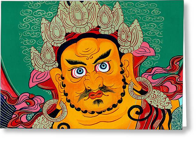 Hindu Goddess Greeting Cards - Yellow Jambhala 28 Greeting Card by Lanjee Chee